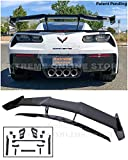 Replacement For 2014-2019 Chevrolet Corvette C7 Wide Body Models   ZR1 Style ABS Plastic PAINTED CARBON FLASH METALLIC Rear Trunk Lid Wing Spoiler Tail Light With Installation Bracket