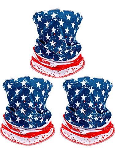 3 Pieces American US Flag Bandanas Face Cover Neck Gaiter Sun Protection Seamless Balaclava Headwrap for Motorcycle Outdoor Men Women