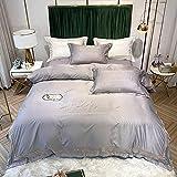 juegos de sábanas de 80-Conjunto de funda de edredón con cama suave Conjunto de 2 piezas de lujo de 300 hilos con underos de astillas con almohadillas de almohadas arruga y decoloración resistente a