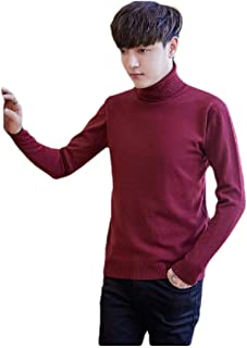 Mogogo Mens Simple Turtleneck Solid Colored Fall Winter Knitwear Sweaters