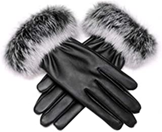 Women's Winter Faux Leather Touchscreen Texting Gloves Fur Trim Cuff