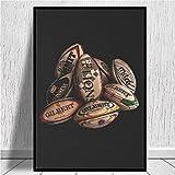 Blanriguelo Impressions sur Toile Ballons de Rugby Peinture Photo Art Mural Affiches Non tissées Salon Chambre Décor à la Maison 19,6'x27,5 (50x70cm) sans Cadre