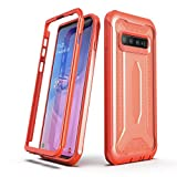 ULAK Knox Armor Designed for Galaxy S10 Plus Case, Slim Shockproof Full Body Rugged Protective Phone Cover for Samsung Galaxy S10+ Plus 2019 Without Built-in Screen Protector, Flamingo Orange