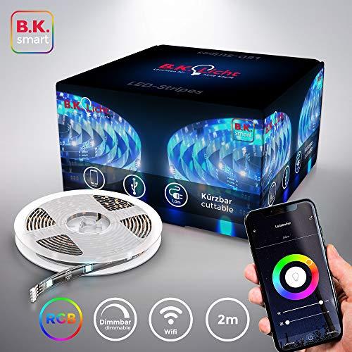 Striscia LED Smart RGB, 2m, funziona con App, Amazon Alexa, Google Home, Wi-Fi, alimentazione USB, cambia colore con lo smartphone, adesiva, accorciabile, controllo vocale, rivestimento in silicone