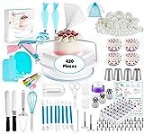 XHCP Kit de Suministros de decoración de Tartas 420 Piezas, Herramientas de repostería para Hornear, 1 Soporte para Plato Giratorio, 48 Puntas de glaseado numeradas con Tabla de patrone