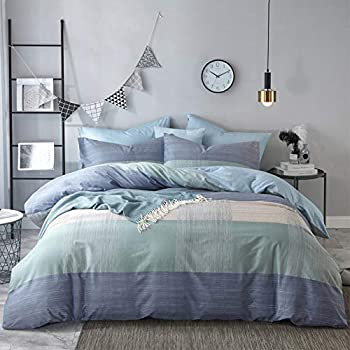mixinni Geometric Duvet Cover Queen Soft Cotton Blue Patchwork Modern Bedding Set with Zipper Ties Mint Green Duvet Cover Set Perfect for Him and Her Easy Care Soft and Durable-Queen/Full Size