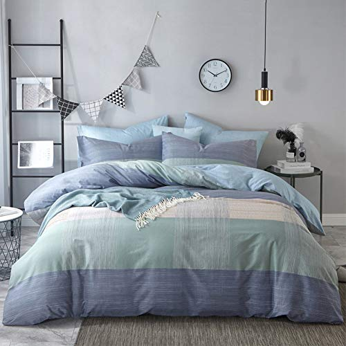 Geometric Duvet Cover Queen Soft Cotton Blue Patchwork Modern Bedding Set with Zipper Ties Mint Green Duvet Cover Set Perfect for Him and Her, Easy Care, Soft and Durable-Queen/Full Size