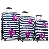 Rolite Beach Stripe 3-Piece Hardside Spinner Combination Lock Luggage Set