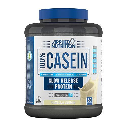 Applied Nutrition 100% Micellar Casein, Slow Digesting Protein Powder Shake, Supplement with Glutamine & Amino Acids, Gluten Free, 1.8 kg - 60 Servings (Vanilla Cream)