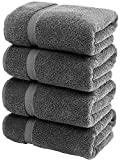 White Classic Luxury Bath Towels Large | 700 GSM Cotton Absorbent Hotel Bathroom Towel | 27x54 Inch | 4 Pack | Grey