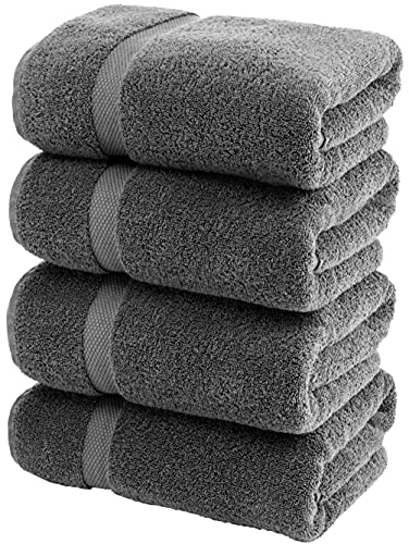 White Classic Luxury Bath Towels Large   700 GSM Cotton Absorbent Hotel Bathroom Towel   27x54 Inch   4 Pack   Grey