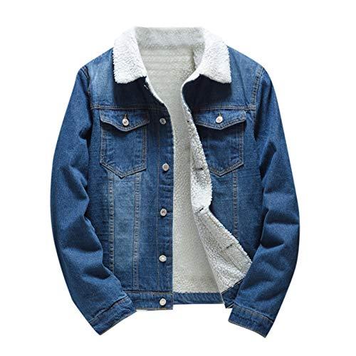 AmyGline Jacke Herren Lässig Vintage Jeansjacke Fleece Verdicken Warme Revers Denim Jacke Winterjacke Sherpa Jeans Trucker-Jacke Übergangsjacke