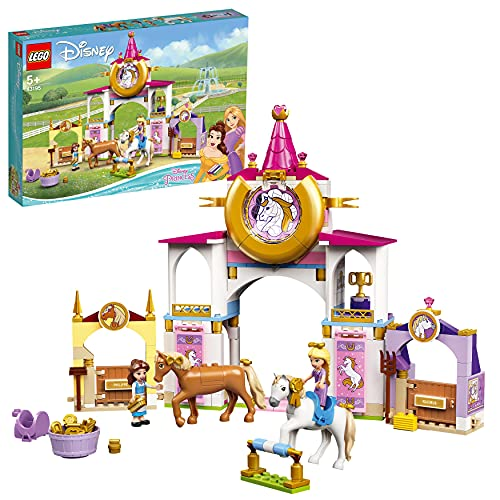 LEGO 43195 Disney Princess Belles und Rapunzels königliche Ställe, Bauspielzeug für Kinder ab 5 Jahren mit Pferd- und Minipuppen-Figuren