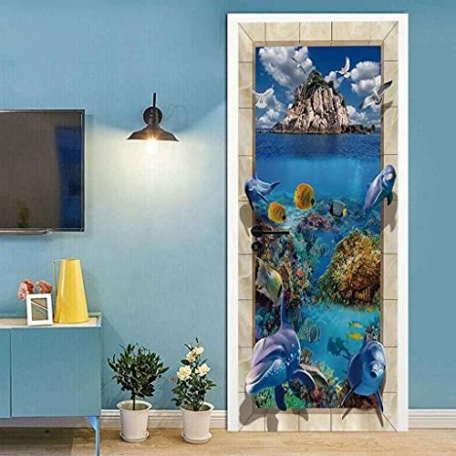 MZNVTD Murales De Puerta Para Calcomanías De Sala De Estar Pescado De Mar Azul Etiqueta De Puerta Dormitorios Guardería Autoadhesivo Impermeable Póster Arte Decoración Del Hogar 85x200cm