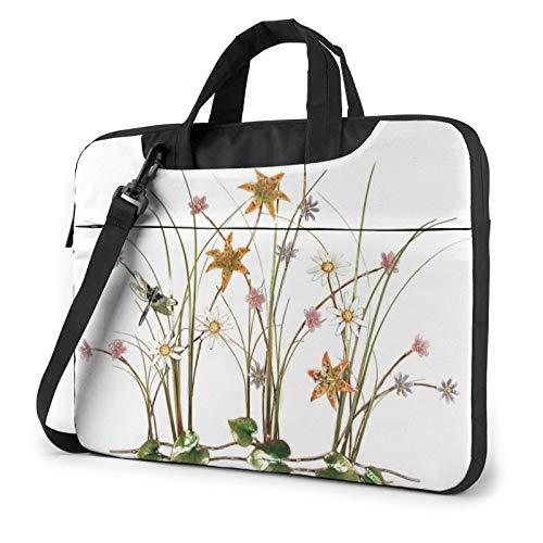 HOODSWOP Dragonflies and Wildflowers Laptop Sleeve 13 inch-15.6 inch Stylish Cute Neoprene Notebook Handbag