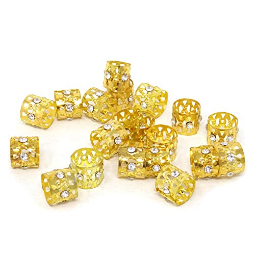 Honbay 20PCS Gold Rhinestone Hair Rings Dreadlocks Beads Braid Hair Cuffs Braiding Hair Jewelry (Triangle Hollow Out)