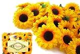 (100) Silk Yellow Sunflowers sun Flower Heads , Gerber Daisies - 1.5' - Artificial Flowers Heads Fabric Floral Supplies Wholesale Lot for Wedding Flowers Accessories Make Bridal Hair Clips Headbands Dress by Florist Brand