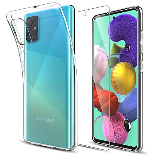 MP-MALL Kompatibel mit Samsung Galaxy A51 Hülle mit 1 Stück Bildschirmschutz Schutzfolie, Klar Schutzhülle Transparent TPU Silikon Handyhülle Durchsichtige Hülle Cover, Crystal Clear
