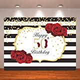 Crefelicid 7x5ft 50th Birthday Backdrop Red and Black Flowers 50 Birthday Photography Background Adults Women Bday Cake Table for Party Decorations Favors