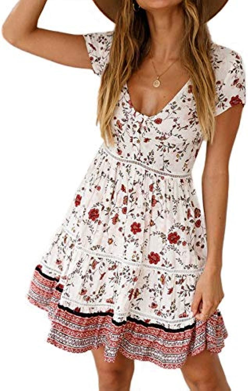 STLYQ Bohemian Floral Women Dress New Summer Dress Womens Flower Printed A Line Dresses Casual Ladies Beach Party Short Sundress