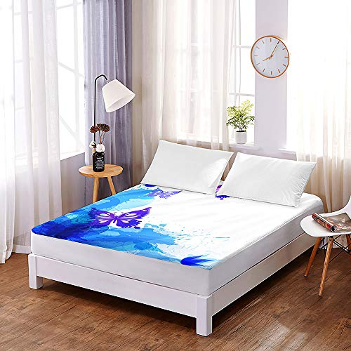 3D Butterfly Bedding Fitted Sheets Extra Deep 30 cm, Morbuy Microfiber Soft Fade Resistant Bed Sheets for Single Double King Size, Only Bedsheet No Pillowcases (90 * 200 * 30cm,B)