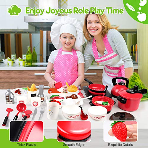 OCATO 51Pcs Kitchen Toys Kids Kitchen Playsets Play Kitchen Set for Kids Girls Boys 3 4 5 6 Years Old Play Food Play Cooking Toys Set Play Pots and Pans Set Play Kitchen Accessories for Toddlers Gifts