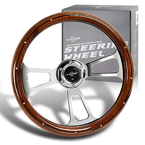 W-Power, 13.5' Universal 343mm 6 Bolt Hole Deep Dish Billet Streak Aluminum Polished Wood Grain Trim Vintage Steering Wheel