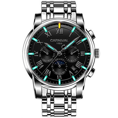 Carnival Reloj De Hombre Automático Núcleo Mecánico Indicador De Fecha Cristal De Zafiro Relojes De Pulsera Antiarañazos Black