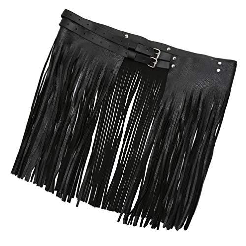 HEALLILY Cinturón con Borlas de Cuero Falda con Flecos Y Flecos de Cuero de Pu Cinturilla con Hebillas Dobles Punk para Mujeres Y Niñas