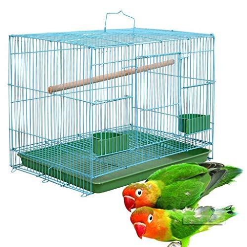 Jaula pequeña Rectangular de Alambre Joocyee para pájaros pequeños y Canarios Comederos equipados con Rekord, Jaula de Alambre para pájaros, Jaula Externa para Loros, Azul + Verde