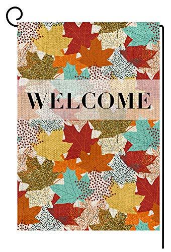 RDXX Hojas de otoño Bienvenido Acción de Gracias Bandera de jardín pequeña Vertical de Doble Cara 12.5 x 18 Pulgadas Colorido Hoja de Arce Patio de arpillera Decoración al Aire Libre