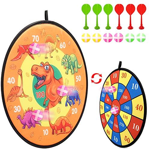 Kinder Klett Dartscheibe Set, Doppelseitiges Sport Spielzeug Dartscheibe mit Dinosaurier Motiven und Zahlen inkl. 6 Bälle mit 6 Sticky Darts, Dart Wurf Spiel Scheibe für Groß und Klein (14,5 Zoll)