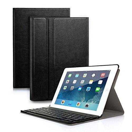 Besmall Tastiera di Lingua Italiana Bluetooth Wireless Rimovibile per Apple iPad iPad 9.7 2018/iPad 9.7 2017/iPad Air 2 Air 1/iPad Pro 9.7 + Custodia Cover Protettiva in Pelle Sintetica -Nero