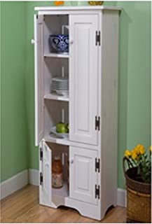 Extra Tall Kitchen Cabinet - Weathered White - Has One Fixed and Two Adjustable Shelves by Simple Living