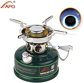 APG Dual Fuel Portable Camping Backpacking Stove Liquid Fuel Gasoline Stove Burner, Compact Mini Cooking Stove with Silencer, for Outdoor Hiking Backpacking Emergency Kit & Survival Gear