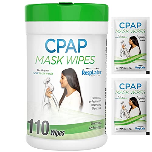 RespLabs CPAP Mask Wipes - 1x 110 Pack Bottle - Alcohol-free, Unscented and...