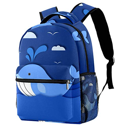 Mochila Infantil Ballena Azul de Dibujos Animados Mochila Escolar Impermeable Mochila de Viaje para Niños y Niñas 29.4x20x40cm