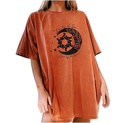 ZYZS Camiseta de mujer con estampado de sol y luna, informal, manga corta marrón S