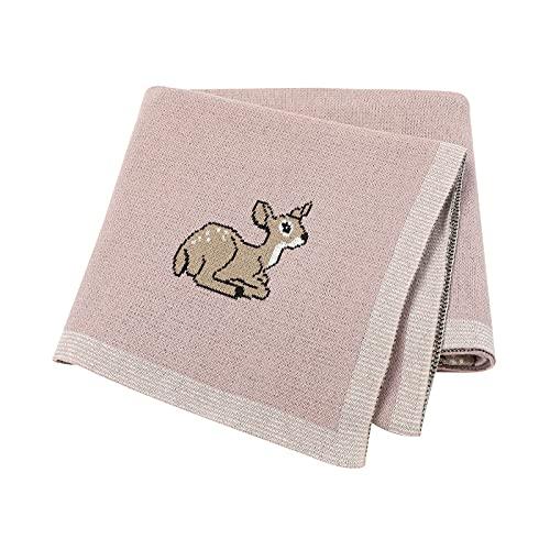 Babydecke Baumwolldecken gestrickte Babydecke Rehkitz Kinderwagen/Reisen/Moseskorb weich (100x80cm) rosa