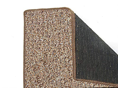 Almond Brown 3/16' Thick - 8 oz. Artificial Grass Turf Carpet Indoor Outdoor Area Rug with Finished Edges. Thin and Lightweight for Easy Transport. Balcony, Decks, Picnic, Gazebo. (3' x 5')