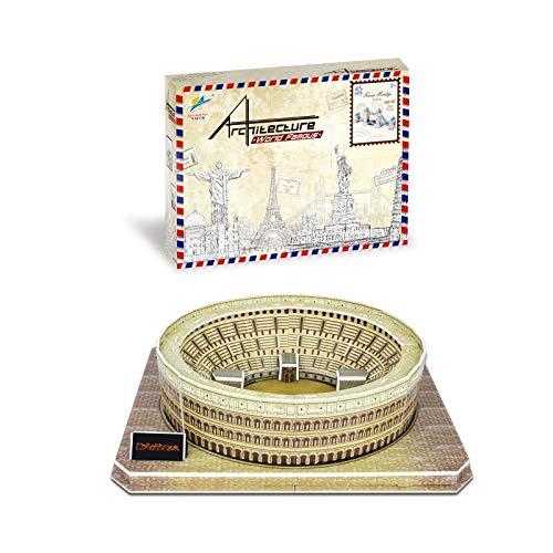 Auveach Puzzle 3D Modello Puzzle Creativo Mondo Grande Architettura Giocattoli Fai da Te Kit Artigianale Miglior Regalo Educativo per Bambini (Colosseo)