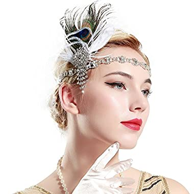 BABEYOND 1920s Flapper Headband Roaring 20s Headpiece Gatsby Peacock Feather Headpiece with Crystal (Black and White)
