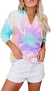 Women's Tie Dye Printed Long Sleeve Hoodie Sweatshirts V Neck Pullover Color Block Drawstring Hoodie Top.JNINTH