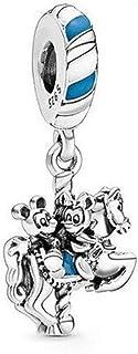 Desconocido JCaleydo - Mickey y Minnie Tiovivo, Plata de Ley 925 con *Caja Regalo* Compatible con Pulsera Pandora