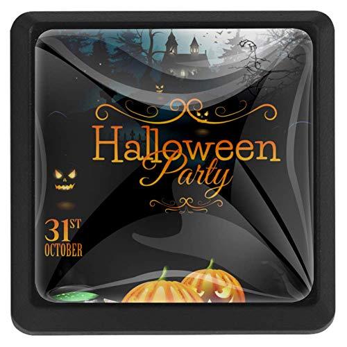 Quadratisches Set von 3 Halloween Party Flyer mit Kürbissen Hut Topf und Knöpfen für Hauptdekorationen mit Schrauben Drucke Schränke Schublade zieht Griff