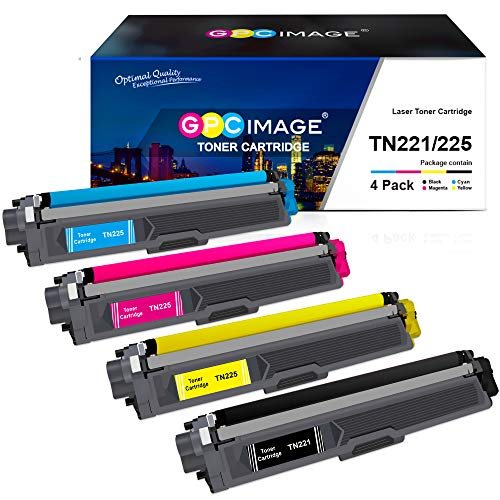 GPC Image Compatible Toner Cartridge Replacement for Brother TN221 TN-221 TN225 to use with HL-3170CDW MFC-9330CDW HL-3180CDW MFC-9130CW Color Laser Printer (1 Black, 1 Cyan, 1 Magenta, 1 Yellow)