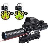 MidTen 3-9x32 Tactical Rifle Scope Dual Illuminated Optics & Rangefinder Illuminated Reflex Sight 4 Holographic Reticle Red/Green Dot Sight & IIIA/2MW Laser Sight(Red)