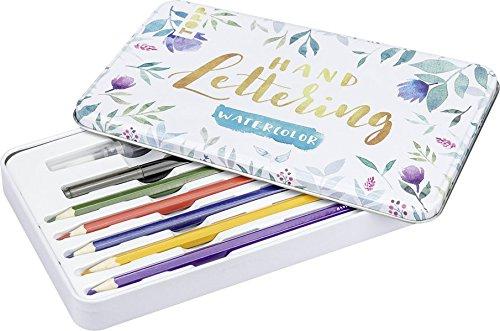 Handlettering Watercolor Schmuckdose: Aquarell-Buntstifte, Wassertankpinsel, Brushpen und Kurzanleitung für Handlettering Watercolor-Einsteiger und -Fortgeschrittene