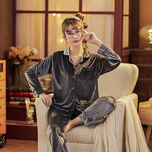 Cálidos Pijamas para Mujer,Conjunto De Pijama De 2 Piezas De Terciopelo De Moda Gris Elegante para Mujer, Conjunto De Vestido Vintage De Invierno De Color Sólido, Ropa De Dormir Sexi para Mujer, P