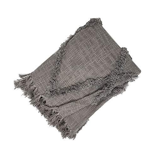 Elrene Home Fashions Fringe Blanket Throw for Bed/Everyday Farmhouse Living Rustikale Vogue Espen-Diamant-Decke mit Fransen, Überwurf für Couch/Sofa/Bett/Alltag, grau, 50'x60' (Single